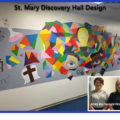 New entryway design to Discovery Hall designed and painted by Mya Tucci and Victoria Goss. 11-2019