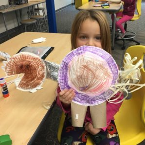 Kindergarten students create dinosaurs in Discovery Hall 11-12-18